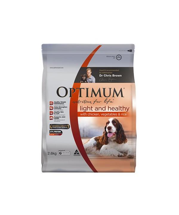 OPTIMUM DOG LIGHT HLTHY CHK VEG RICE 2.6KG