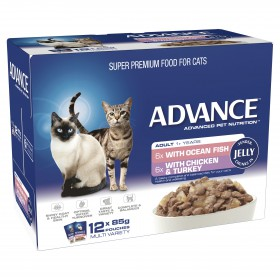 Advance Cat Adult Jelly Multipack Ocean Fish and Chicken with Turkey 85g x 12