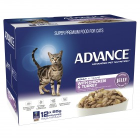 Advance Cat Adult Chicken and Turkey in Jelly 85g x 12
