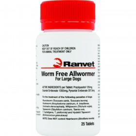 Worm Free Allwormer Large Dog 25kg 25pk