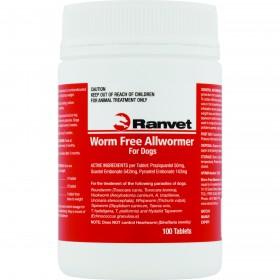 Worm Free Allwormer Dog 10kg 100pk