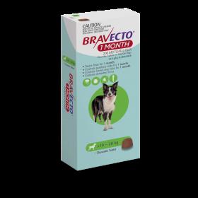 Bravecto Dog Chew 1 Month Dose Medium 10-20kg Green - 1pk