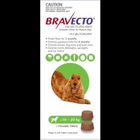 Bravecto Dog Chew Medium 10-20kg Green - 2pk
