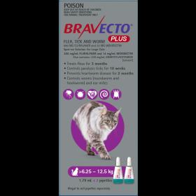 Bravecto Plus Cat Spot On Large 6.25-12.5kg Purple - 2pk