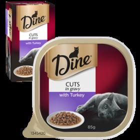 Dine Cat Adult Cuts in Gravy Turkey 85g x 7 - 6pk