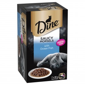 Dine Cat Adult Multipack Saucy Morsels Ocean Fish 85g x 7 - 6pk