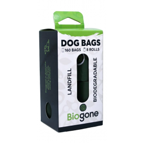 Biogone Dog Poo Bag Landfill Biodegradable 20 Bags x 8 Rolls = 160pk
