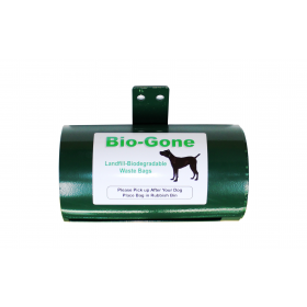 Biogone Dog Poo Bag Heavy Duty Dispenser for Large Rolls Stainless Steel Green - 1pk